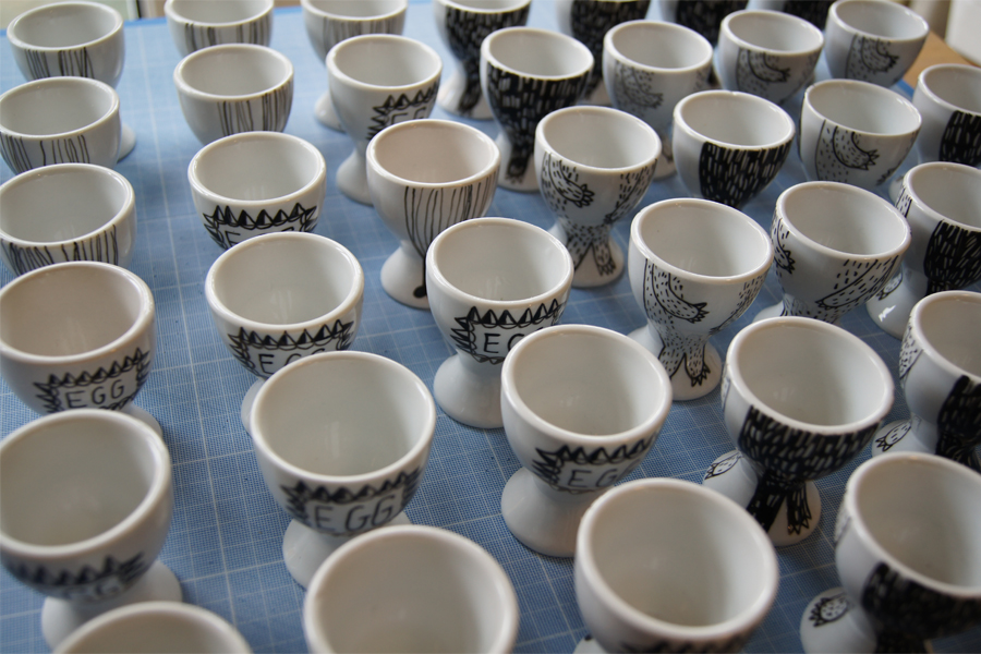 My egg cup drawing production line