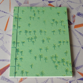Hand Stitched Notebook - Palm Trees