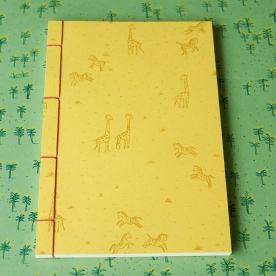 Hand Stitched Notebook - Zebras and Giraffes