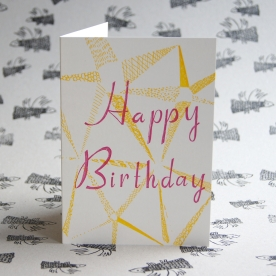 Happy Birthday Yellow Star Card