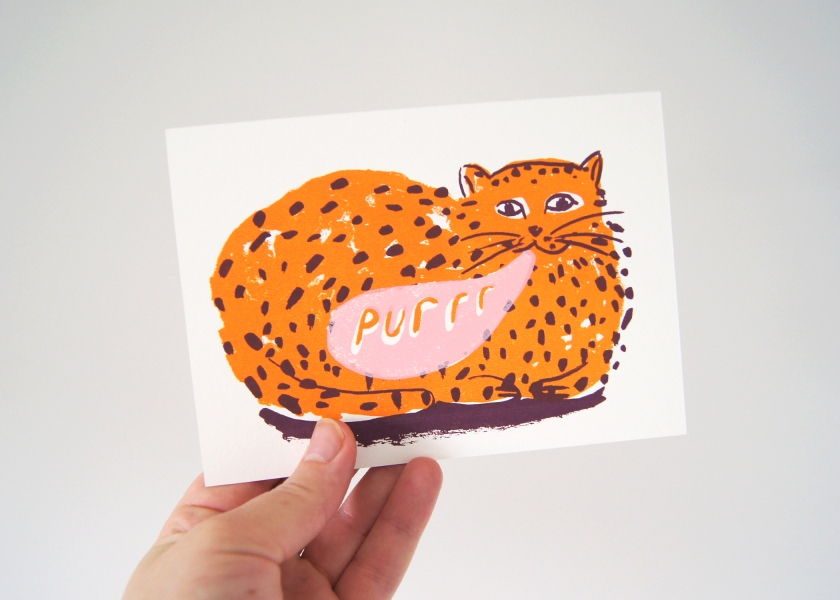 Purring Cat Card