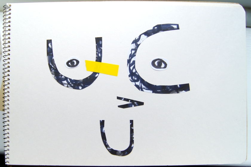 U C UV Face - Typographic collage