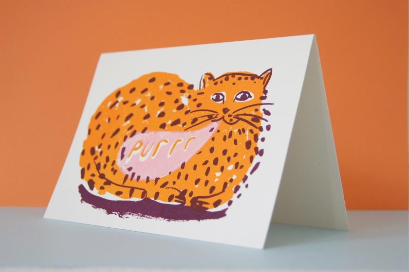 Purring Cat Screen Printed Card