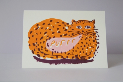 Purring Cat - Screen Printed Card